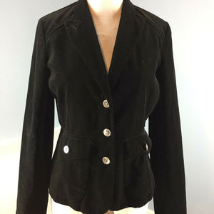 EDDIE BAUER Black cotton velvet blazer Jacket S 4